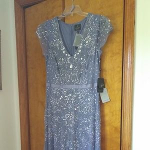 Steel blue gown, wedding, mother of the bride